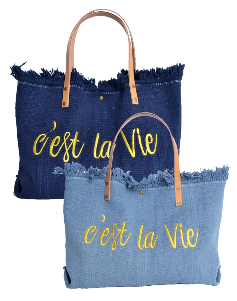 Strandtas c'est la vie kobalt blauw Canvas strandtassen met tekst leren bandjes trendy zomer bags beachbags kopen bestellen