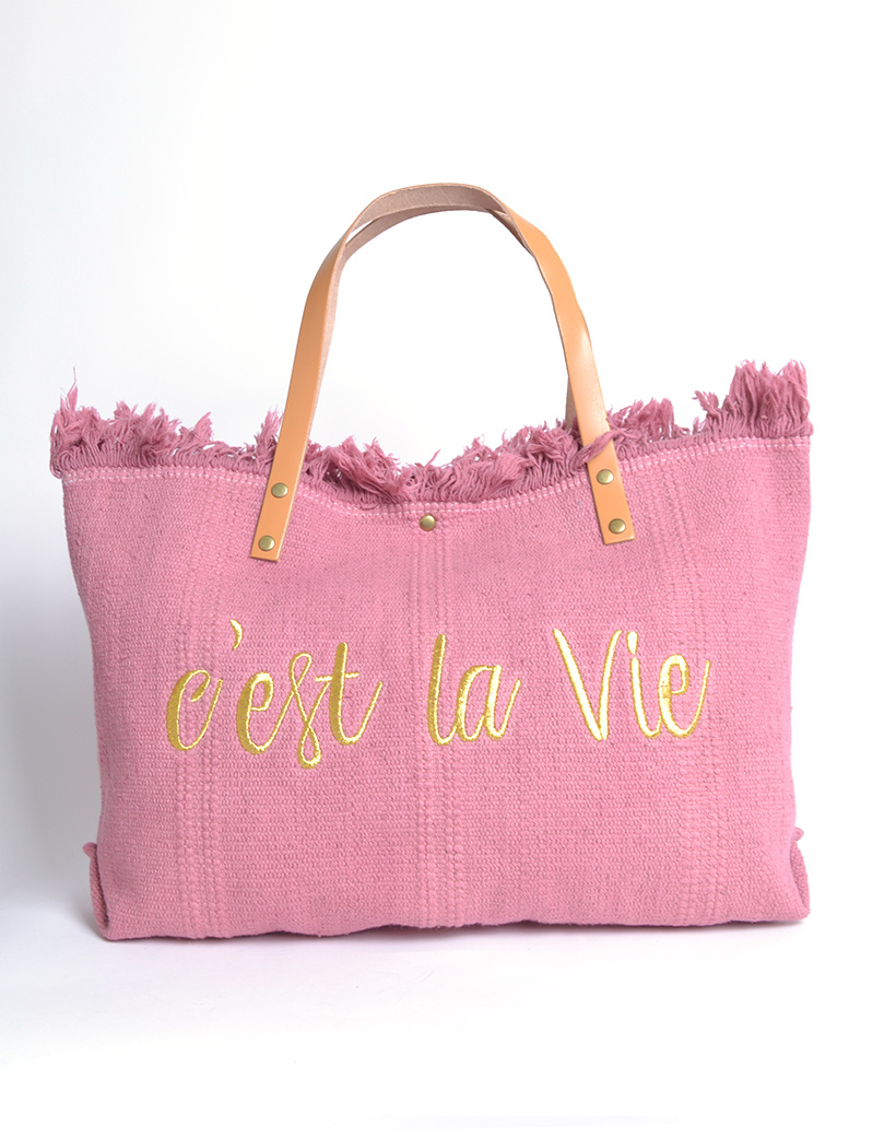 Strandtas c'est la vie roze pink Canvas strandtassen met tekst leren bandjes trendy zomer bags beachbags kopen bestellen