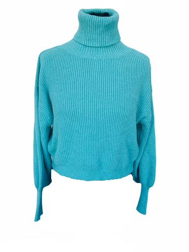 Trui Happy Rib mint turquoise warme dames truien sweaters col lange mouwen winter truien fashion kopen bestellen (1)