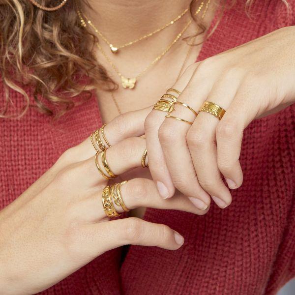 Zilveren Ring Luna goud dames ringen rvs stainless steel trendy lagen ringen yehwang sieraden kopen bestellen