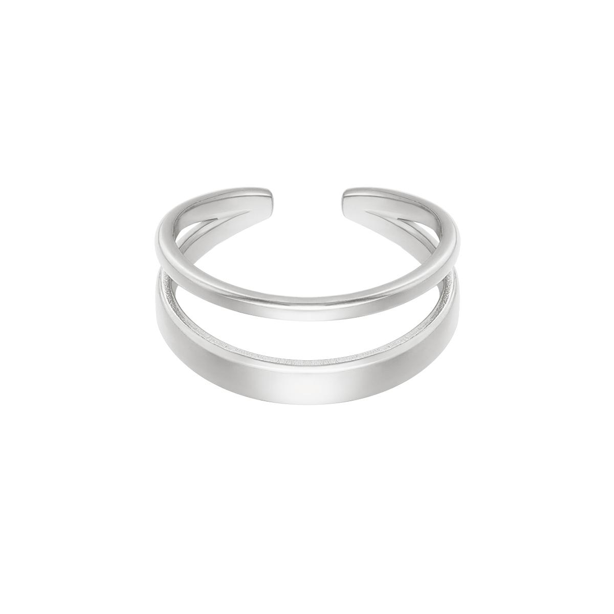 Zilveren Ring Luna zilver dames ringen rvs stainless steel trendy lagen ringen yehwang sieraden kopen bestellen
