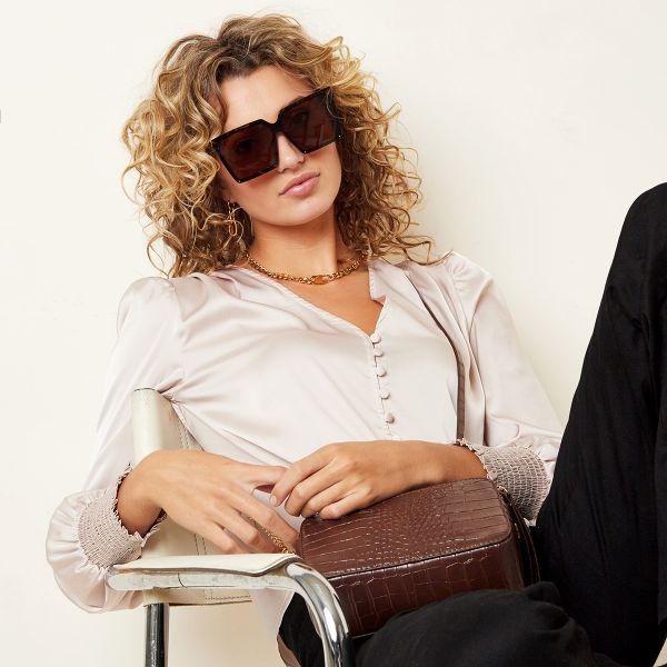 Zonnebril Like a Boss bruin bruine stoere chique dames zonnebrillen trends fashion yehwang kopen bestellen voor