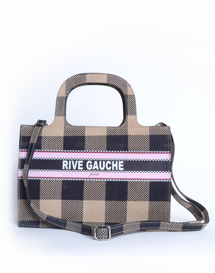 Handtas Nubuck Rive Gauche paris beige nude geblokte lederen leer nubuck look a like it bags bestellen giuliano kopen