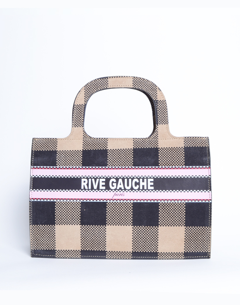 Handtas Nubuck Rive Gauche paris beige nude geblokte lederen leer nubuck look a like it bags kopen bestellen giuliano