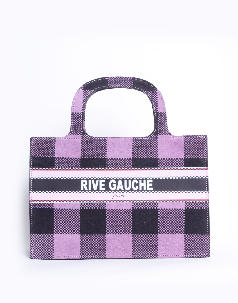 Handtas Nubuck Rive Gauche paris lila geblokte lederen leer nubuck look a like it bags kopen bestellen giuliano