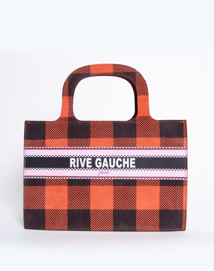 Handtas Nubuck Rive Gauche paris rood rode geblokte lederen leer nubuck look a like it bags kopen bestellen giuliano