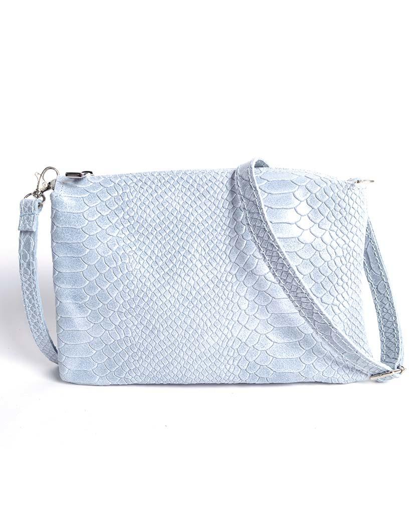 Leren Schoudertas Love Coco licht blauw blauwe trendy tassen 3 vaks clutches croco kroko print giuliano leder leer kopen