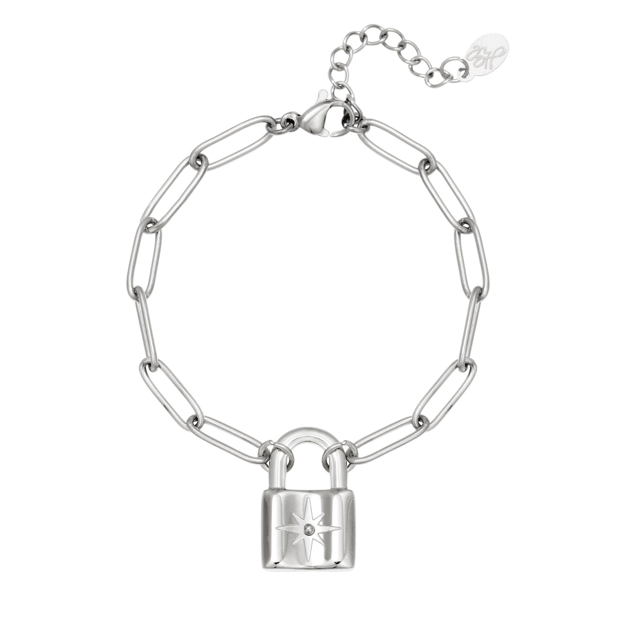 Schakelarmband Star & Lock zilver zilveren armbanden met slot bedel met ster rvs dames sieraden kopen bestellen