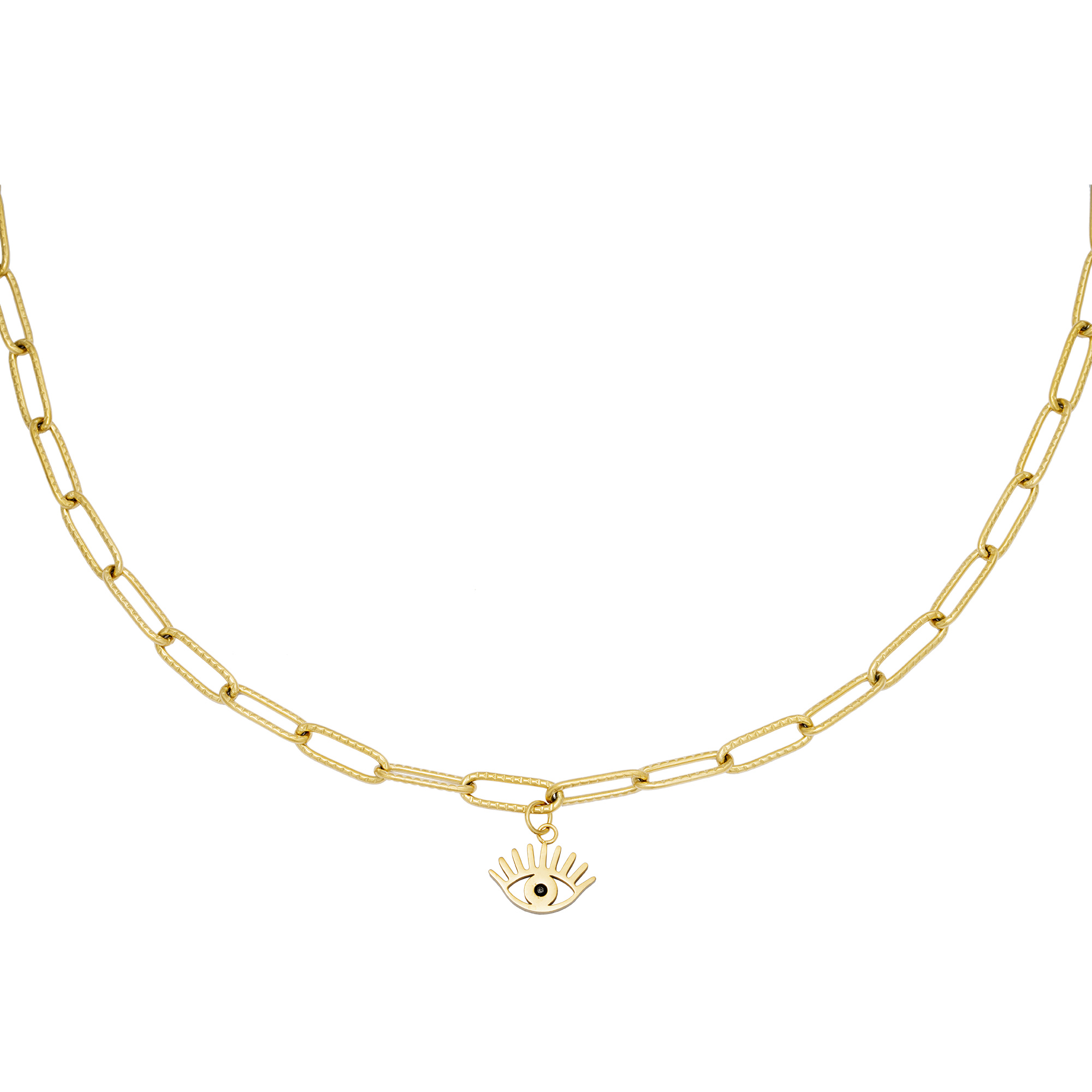 Schakelketting Eye Suprise goud gouden schakelketting oog bedel rvs roest vrij stalen sieraden kettingen kopen bestellen 1