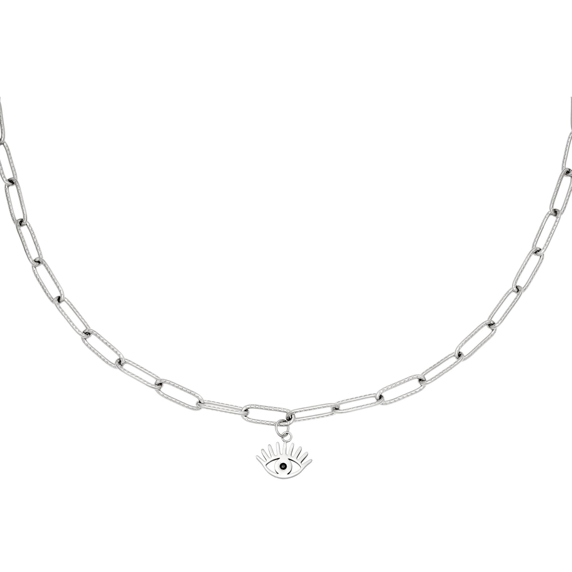 Schakelketting Eye Suprise zilver zilveren schakelketting oog bedel rvs roest vrij stalen sieraden kettingen kopen bestellen