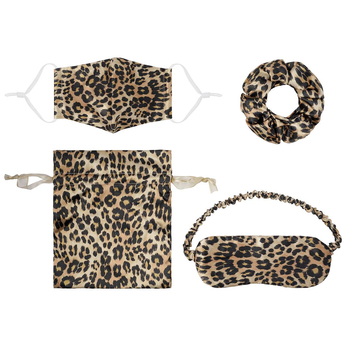 Setje Leopard Suprise mondkapje scrunchie oogklepje setje met tasje cadeauset kopen bestellen