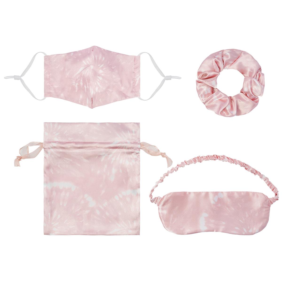 Setje Pink Suprise mondkapje scrunchie oogklepje setje met tasje cadeauset kopen bestellen