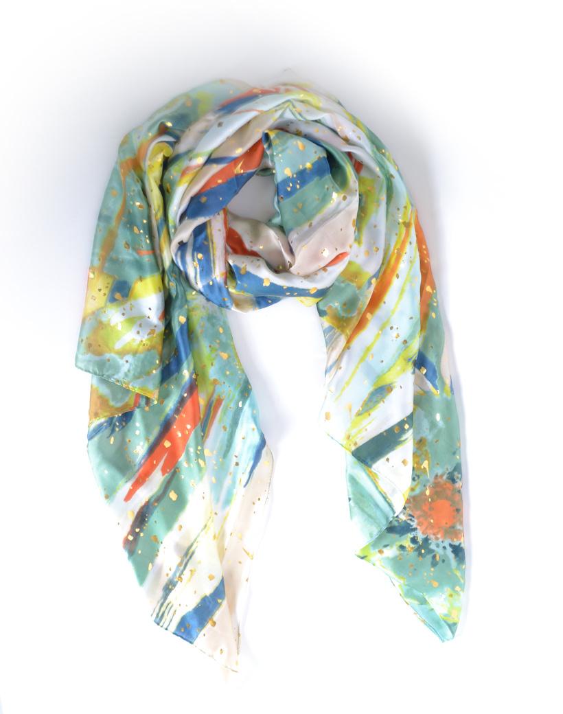 Sjaal Summer groen geel goud gekleurde dunne lange zomer sjaal gekleurde print giuliano sjaals kopen