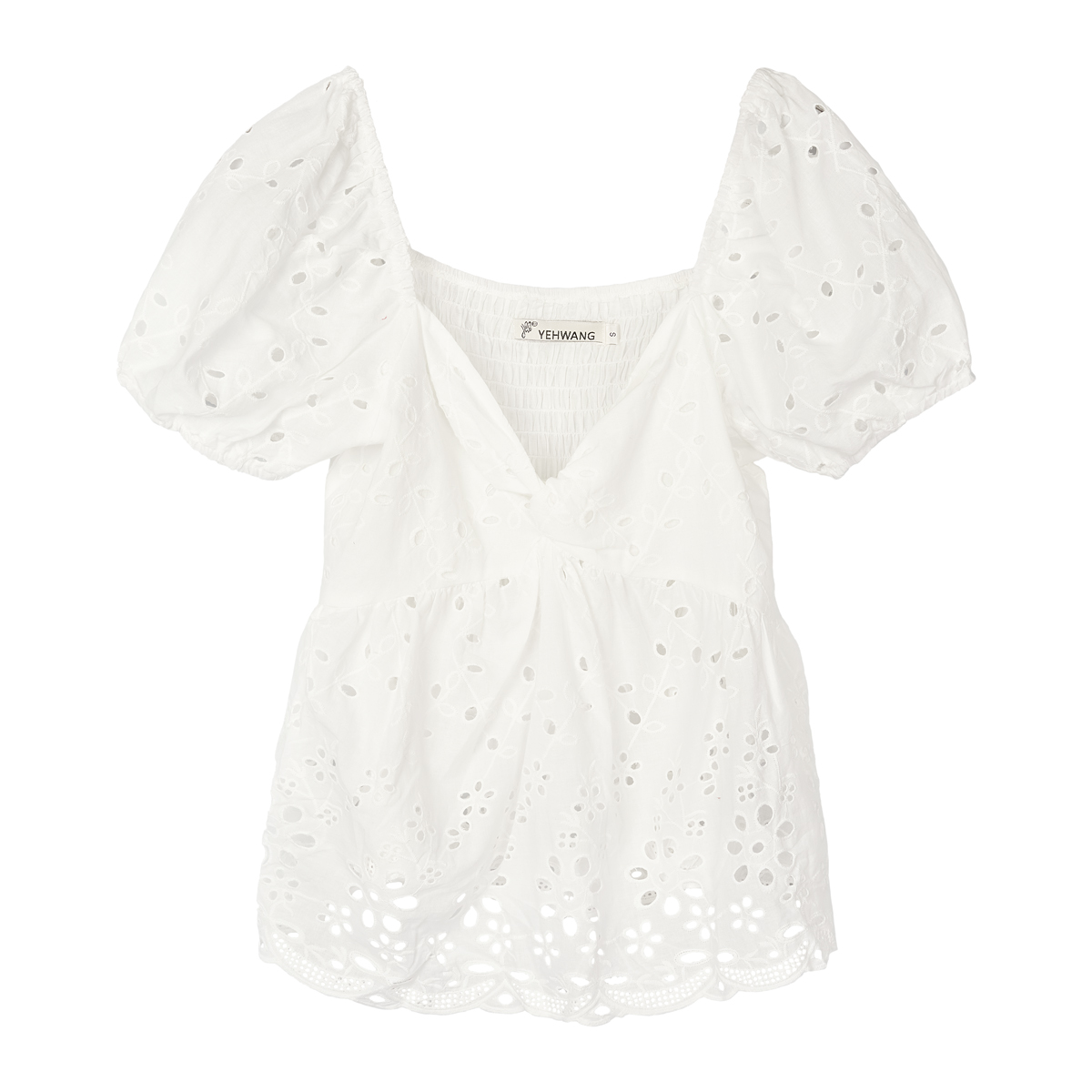 Top Maeve wit witte broderie dames topjes knoop detail trendy fashion kleding truitjes topjes kopen katoen bestellen