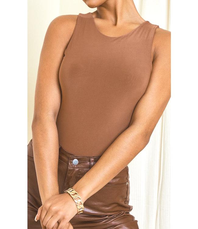 Body Silky Racer bruin bruine dames bodystocking bodie trendy tops topjes truitjes kleding kopen bestellen mode