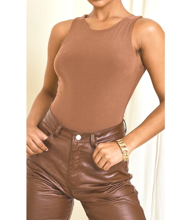 Body Silky Racer bruin bruine dames bodystocking bodie trendy tops topjes truitjes kleding kopen bestellen