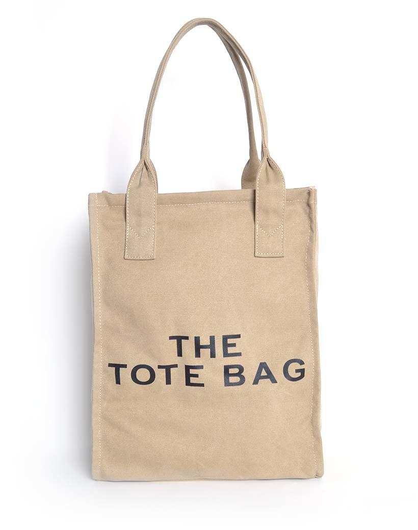 Canvas Shopper De Tote Bag camel trendy grote handige shoppers met tekst giuliano tassen kopen bestellen
