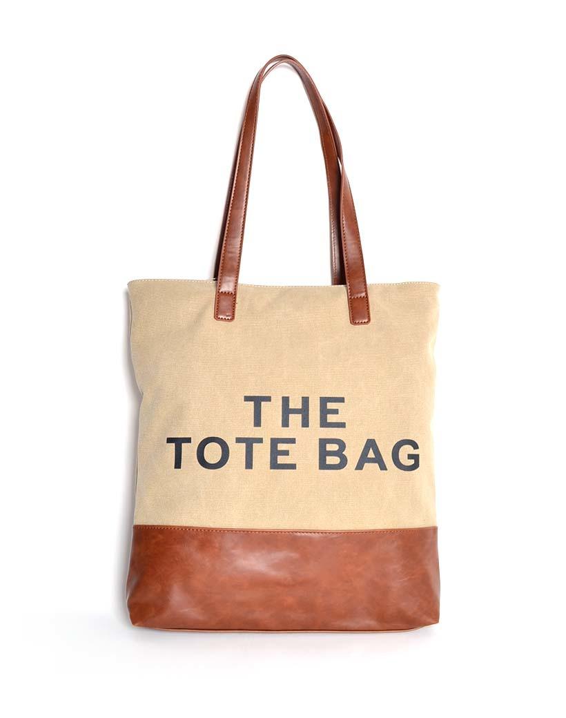 Canvas Shopper More Tote Bag camel trendy grote handige shoppers met tekst giuliano tassen kopen bestellen