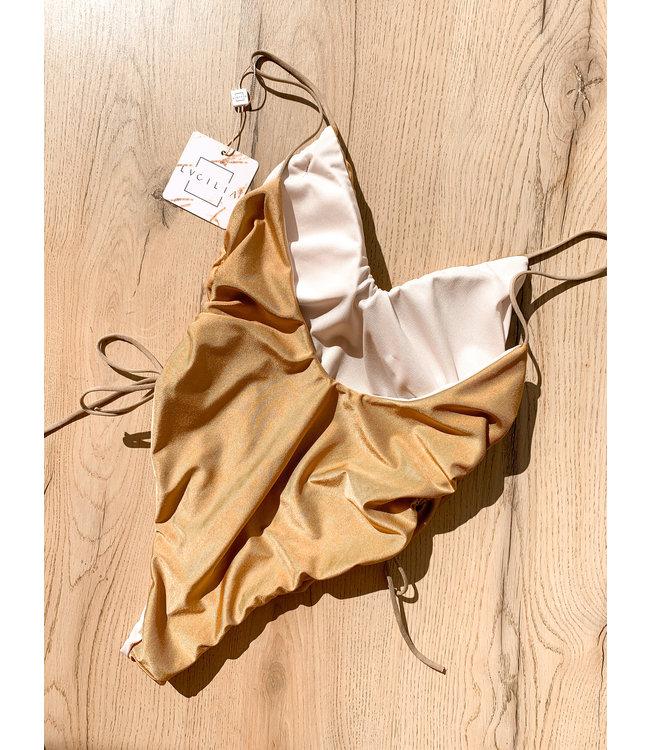 Gouden Badpak Summer goud dames badpakken veters aan de zijkanten verstelbaar sexy badpakken swinwear beachwear achter