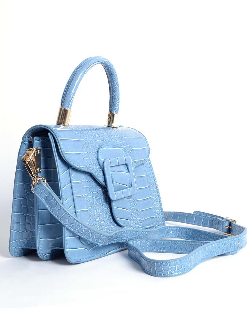 Handtas Gesp blauw blauwe kleine kroko croco tassen met flap en gesp sluiting hengsel trendy dames tassen giuliano bestellen