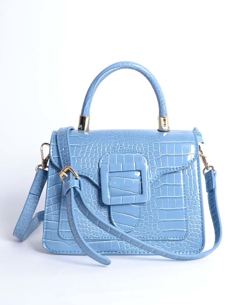 Handtas Gesp blauw blauwe kleine kroko croco tassen met flap en gesp sluiting hengsel trendy dames tassen giuliano kopen