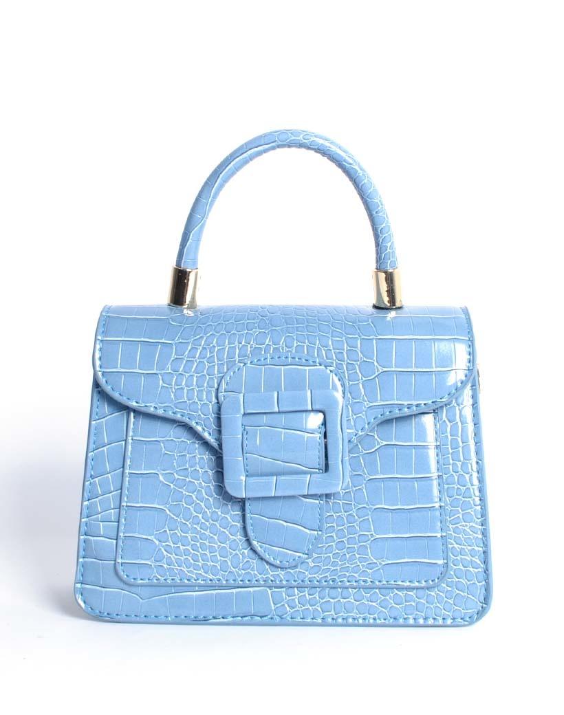 Handtas Gesp blauw blauwe kleine kroko croco tassen met flap en gesp sluiting trendy dames tassen giuliano kopen