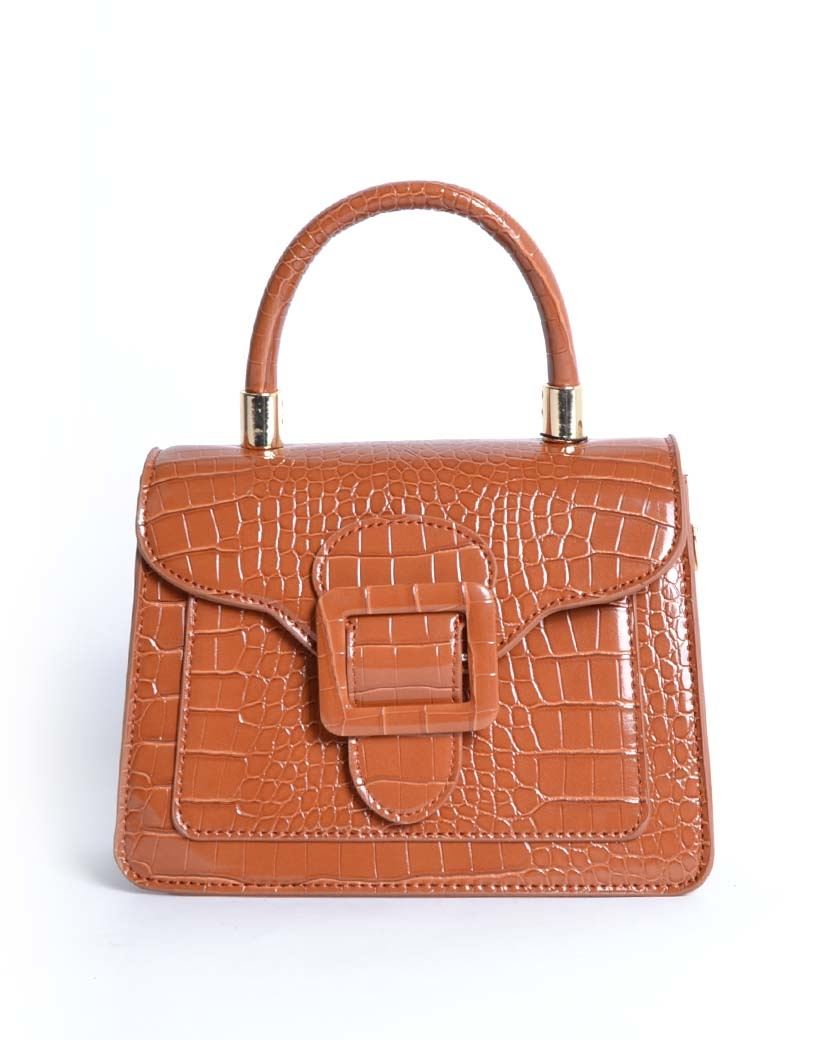 Handtas Gesp bruin bruine kleine kroko croco tassen met flap en gesp sluiting trendy dames tassen giuliano kopen
