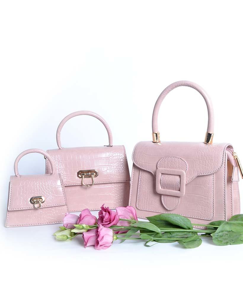 Handtas Gesp roze pink kroko croco tassen met flap en gesp sluiting trendy dames tassen giuliano kopen