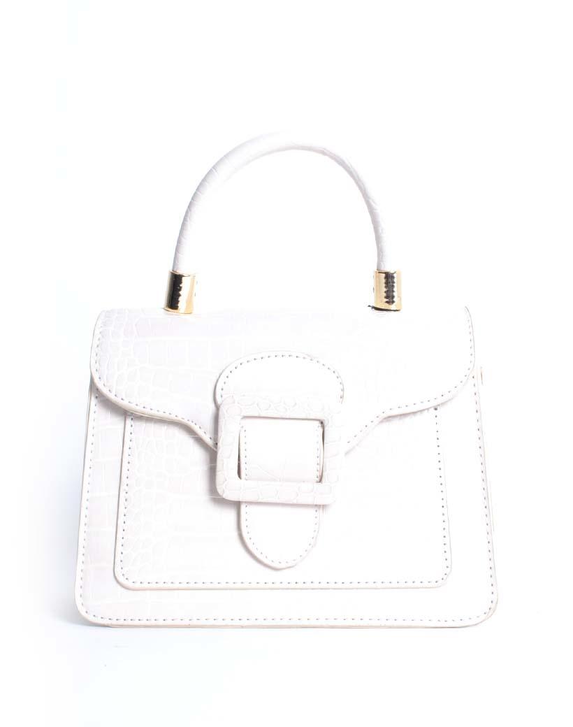 Handtas Gesp wit witte kleine kroko croco tassen met flap en gesp sluiting trendy dames tassen giuliano kopen