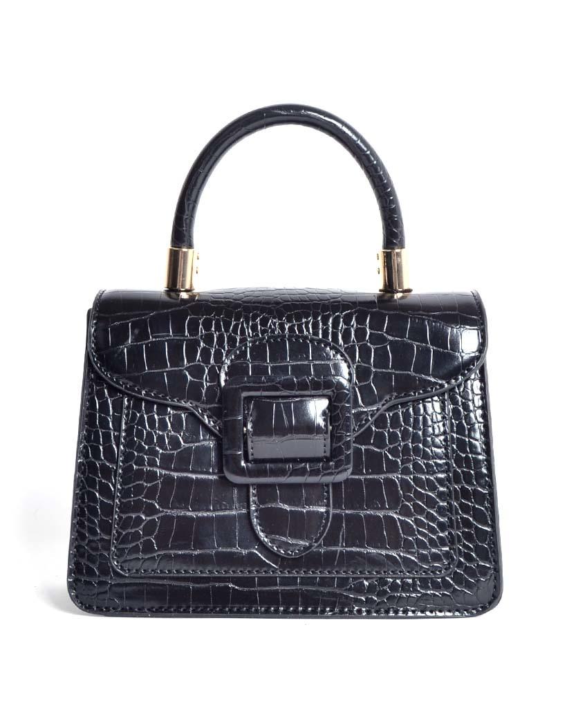 Handtas Gesp zwart zwarte kleine kroko croco tassen met flap en gesp sluiting trendy dames tassen giuliano kopen