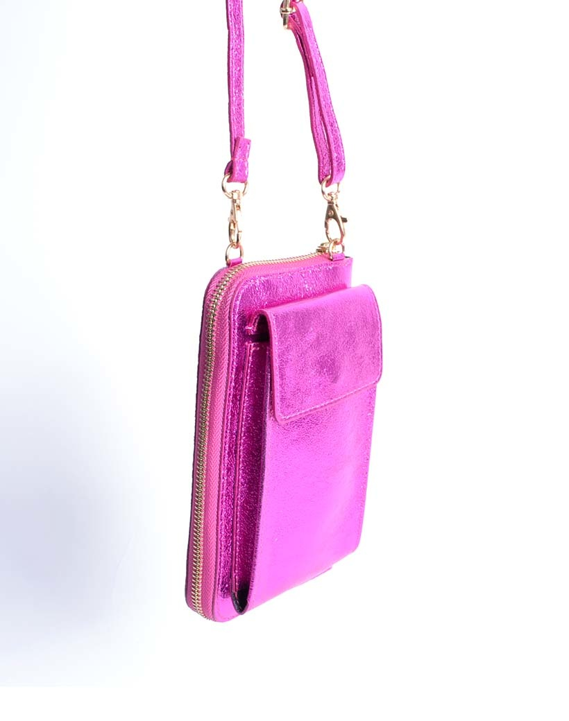 Lederen Telefoontasje Metallic fuchsia portemonnee schoudertasje -handige-giuliano-tas-kopen-bestellen-lederen-schoudertasje-lang-2-vakken