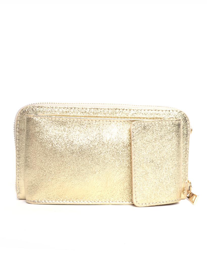 Lederen-Telefoontasje-Metallic-goud gouden portemonnee-schoudertasje-handige-giuliano-tas-kopen-bestellen-lederen-schoudertasje-lang-2-vakken-1