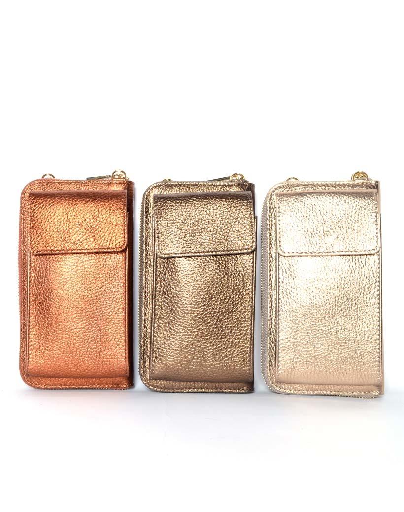 Lederen-Telefoontasje-Metallic-goud koper brons-bronzen-portemonnee-schoudertasje-handige-giuliano-tas-kopen-bestellen-lederen-schoudertasje-lang-2-vakken-1