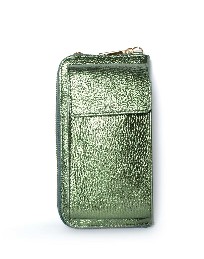 Lederen-Telefoontasje-Metallic-groen groene portemonnee-schoudertasje-handige-giuliano-tas-kopen-bestellen-lederen-schoudertasje-lang-2-vakken-1