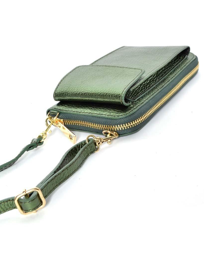 Lederen-Telefoontasje-Metallic-groen groene portemonnee-schoudertasje-handige-giuliano-tas-kopen-bestellen-lederen-schoudertasje-lang-2-vakken