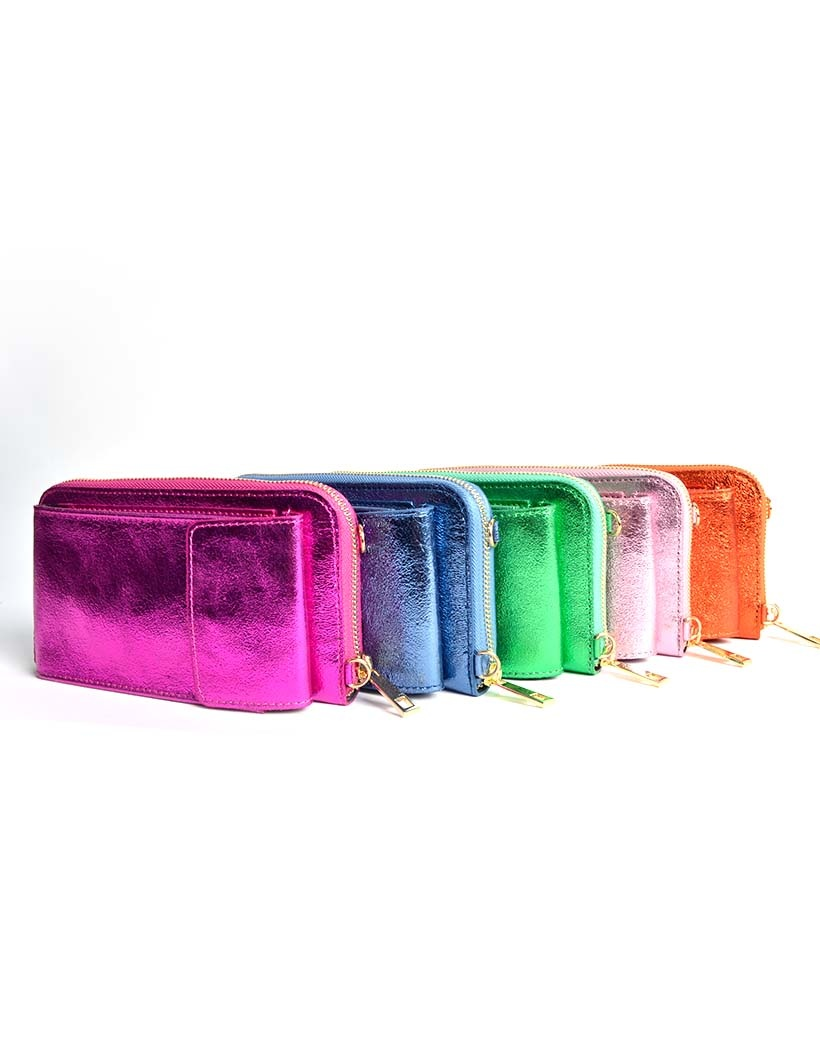 Lederen Telefoontasje Metallic velle kleuren portemonnee schoudertasje -handige-giuliano-tas-kopen-bestellen-lederen-schoudertasje-lang-2-vakken