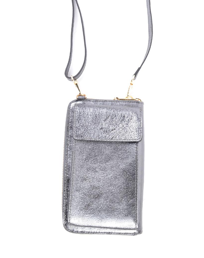 Lederen-Telefoontasje-Metallic-zilver-zilveren-portemonnee-schoudertasje-handige-giuliano-tas-kopen-bestellen-lederen-schoudertasje-lang-2-vakken