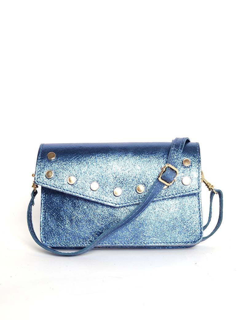 Leren-Belt-Bag-Studs-Metallic blauw blauwe riemtassen-fannypacks-heuptassen-van-leder-leer-leren-met-studs-losse-riem