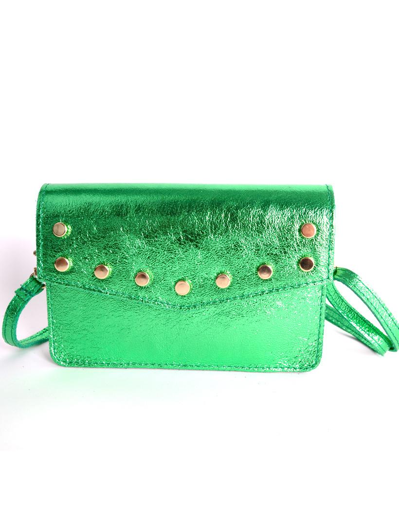 Leren-Belt-Bag-Studs-Metallic groen groene riemtassen-fannypacks-heuptassen-van-leder-leer-leren-met-studs-losse-riem