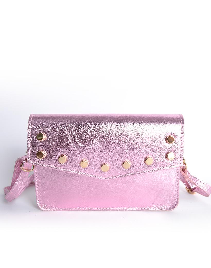 Leren-Belt-Bag-Studs-Metallic lichtroze pink riemtassen-fannypacks-heuptassen-van-leder-leer-leren-met-studs-losse-riem