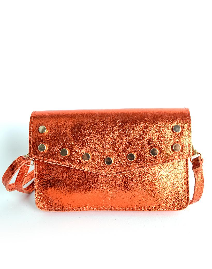 Leren-Belt-Bag-Studs-Metallic oranje riemtassen-fannypacks-heuptassen-van-leder-leer-leren-met-studs-losse-riem