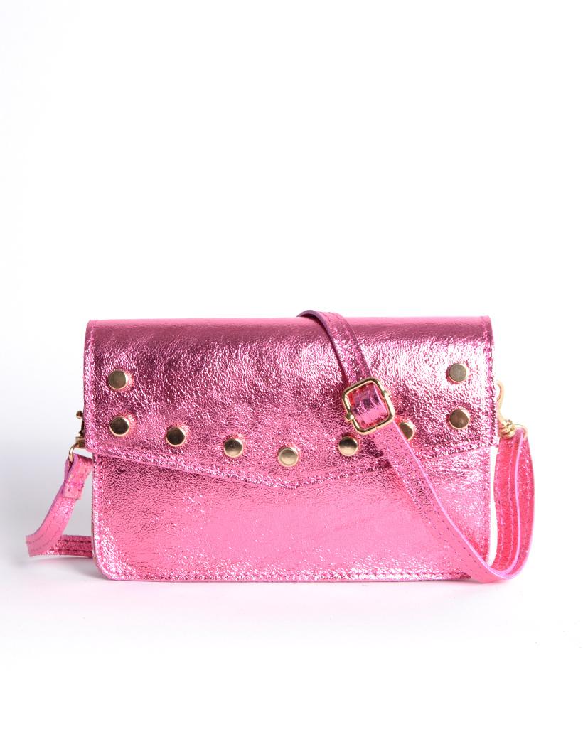 Leren-Belt-Bag-Studs-Metallic roze pink riemtassen-fannypacks-heuptassen-van-leder-leer-leren-met-studs-losse-riem