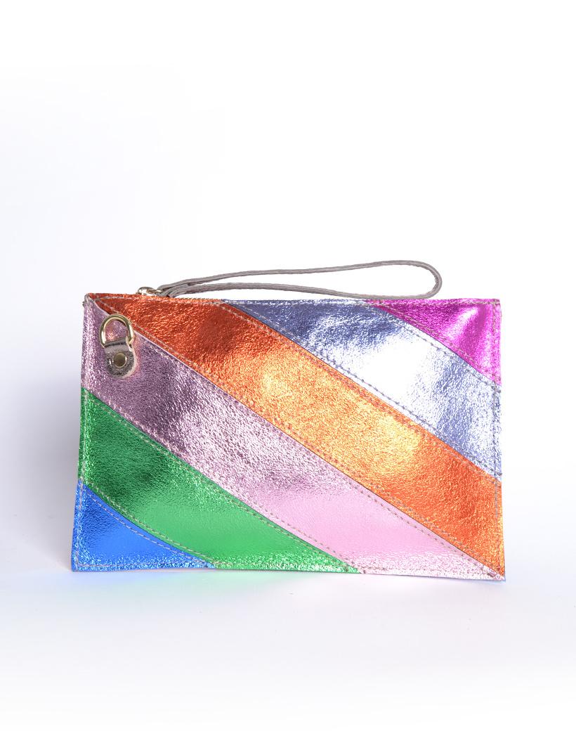 Leren Clutch Metallic Rainbow blauw groen roze oranje lila look a like it bags regenboogkleuren giuliano bestellen kopen achter