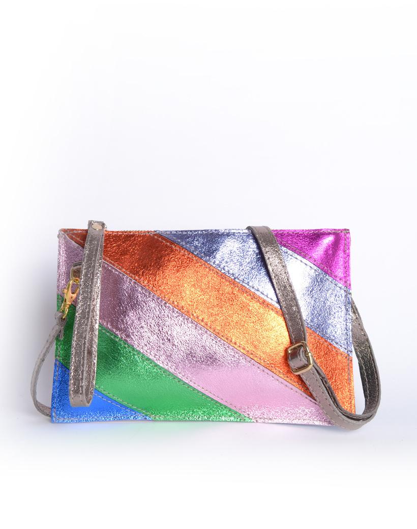 Leren Clutch Metallic Rainbow blauw groen roze oranje lila look a like it bags regenboogkleuren giuliano bestellen kopen
