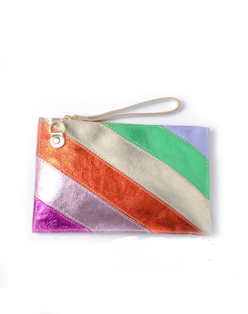 Leren-Clutch-Metallic-Rainbow-goud lila-oranje-geel-groen- look-a-like-it-bags-regenboogkleuren-giuliano-bestellen-kopen