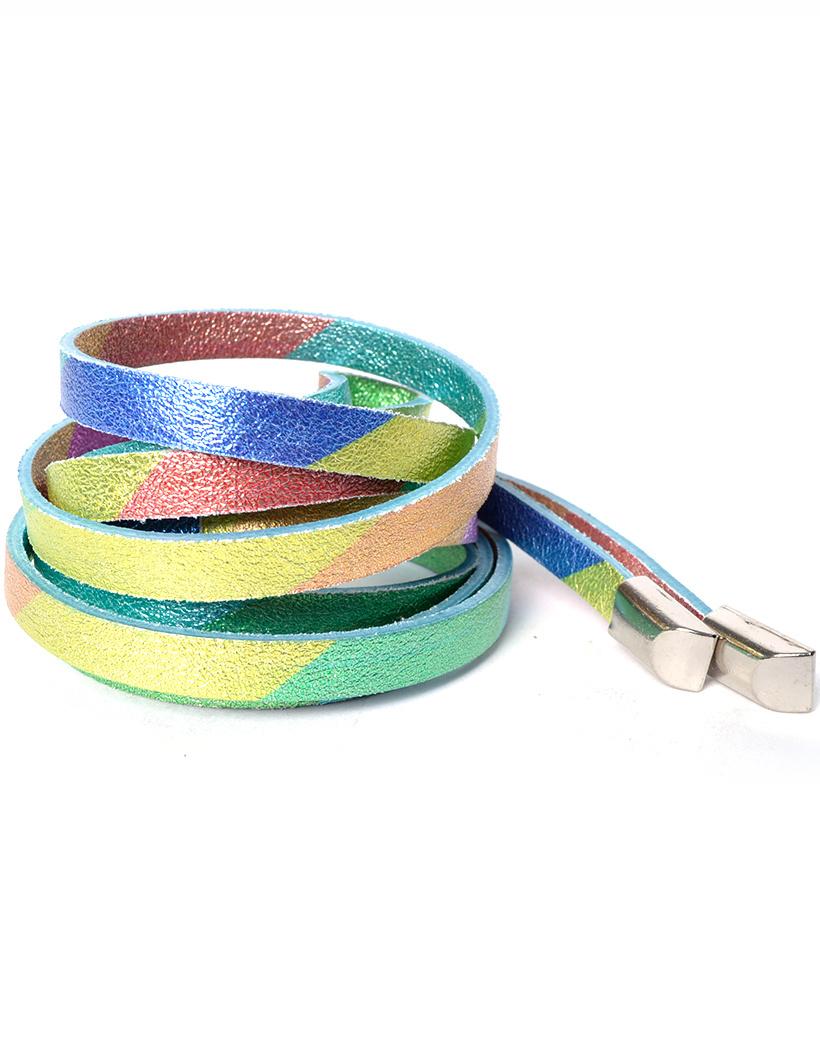 Leren Knoopriem Metallic Rainbow blauw groen roze oranje lila trendy regenboog gekleurde riemen ceinturen regenboogkleuren bestellen kopen