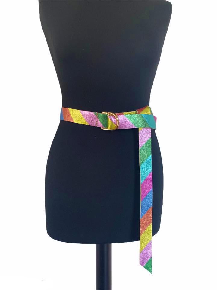 Leren Riem Metallic Rainbow blauw groen roze oranje lila trendy riemen centuren regenboogkleuren bestellen kopen (1)