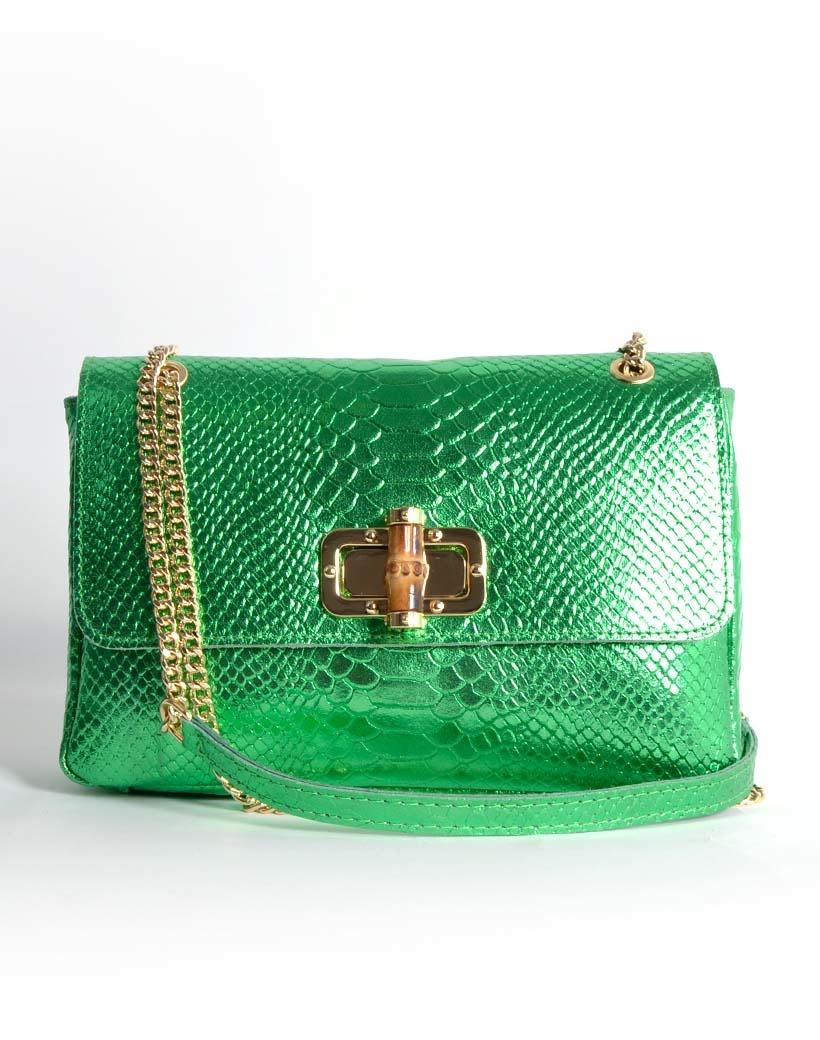 Leren Schoudertas Classy Metallic groen groene leren schoudertassen bamboe handvat look a like fashion bags kopen bestellen