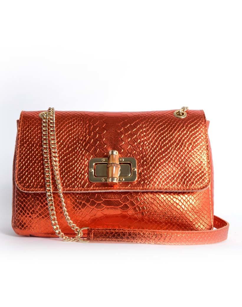 Leren Schoudertas Classy Metallic oranje orange leren schoudertassen bamboe handvat look a like fashion bags kopen bestellen