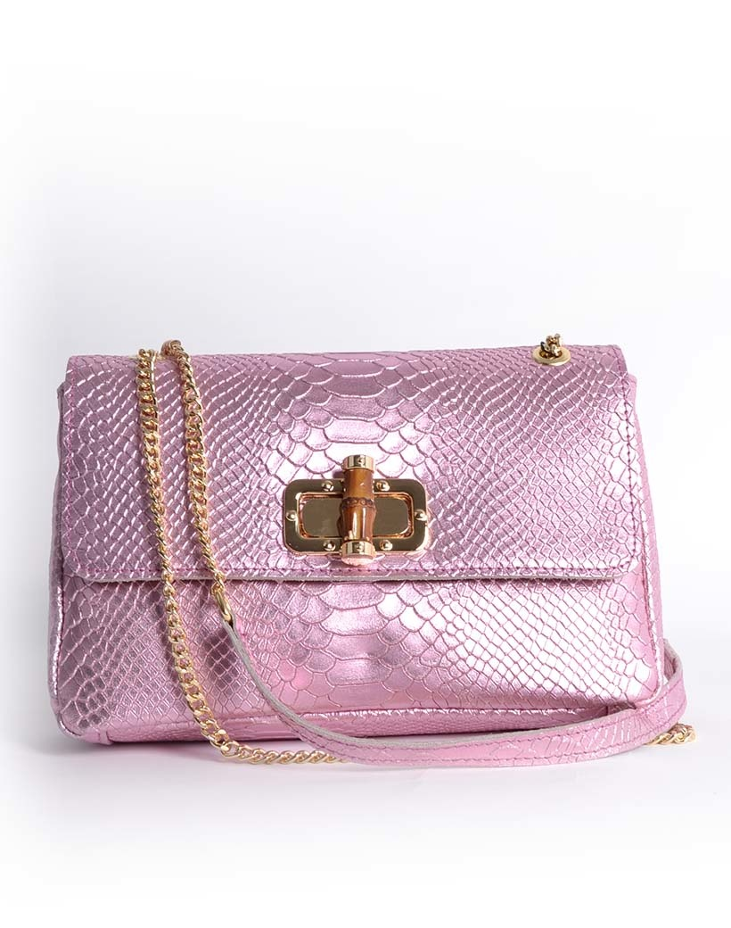 Leren Schoudertas Classy Metallic roze pink leren schoudertassen bamboe handvat look a like fashion bags kopen bestellen